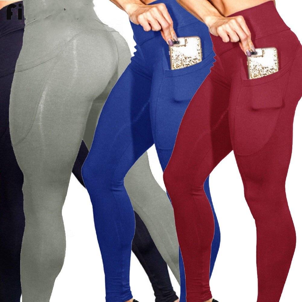 2019 nuevo estilo de moda caliente de las mujeres Sexy Push Up pantalones para yoga ajustados Leggings sólidos de alta cintura con bolsillo