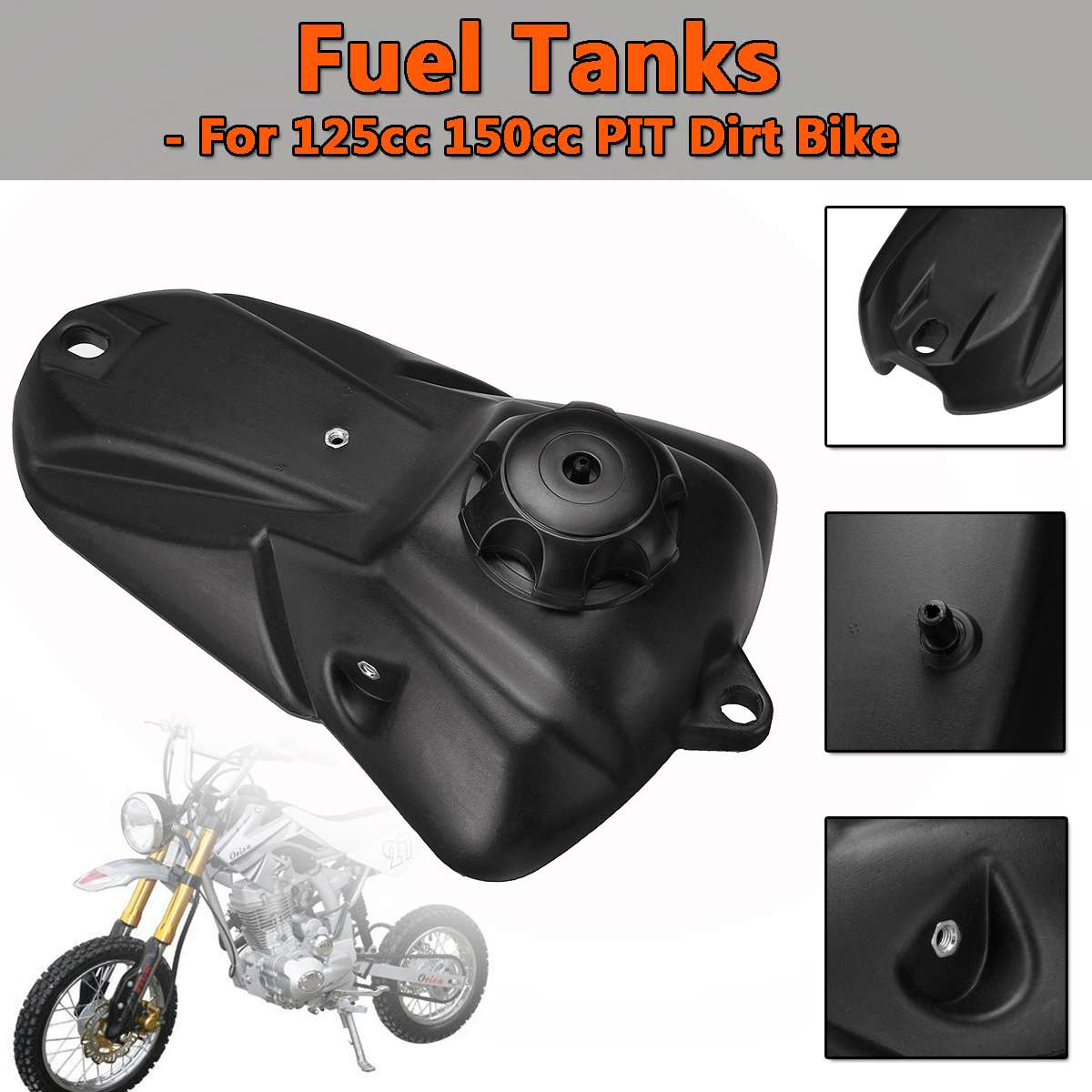 Tanque de combustible para motocicleta para 125cc 150cc PIT PRO Trail Dirt Bike negro Gas gasolina tanques de combustible con tapa nuevo Minimotor Motocross