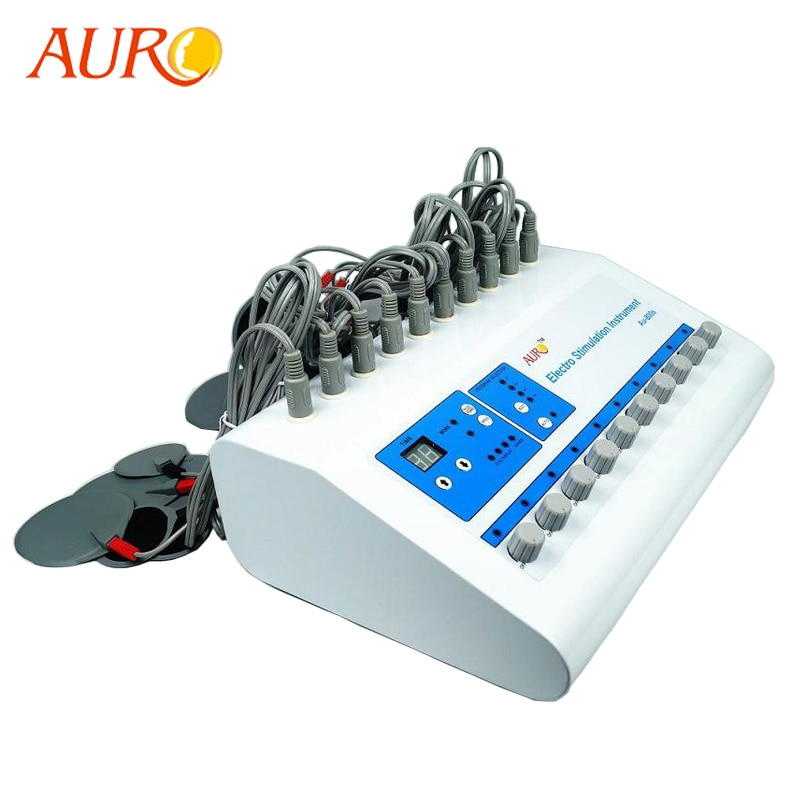 Free Shipping AURO Products Electro Muscle Stimulator Microcurrent Pulse Stimulator Body Fitness Tra