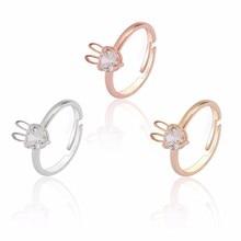Trendy Rhinestone Animal Rings For Women Hip Hop White Crystal Rabbit Ring Men Jewelry Adjustable Cartoon Bunny Party Christmas