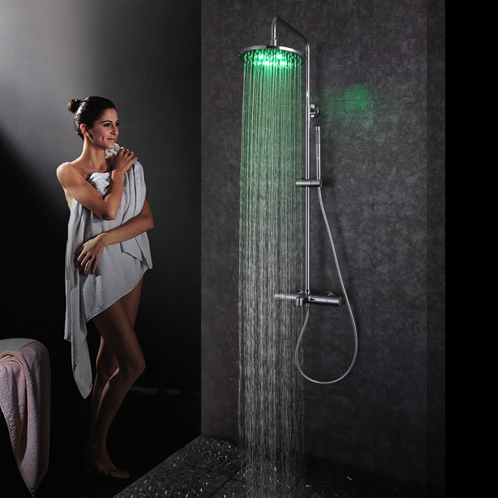 SKOWLL Thermostatic Digital Display Bathroom Shower Faucet Rainfall Shower Head with LED Hot & Cold
