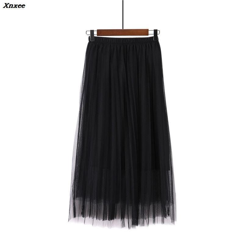 New 2018 Spring Summer Vintage Skirts Womens Elastic High Waist Tulle Mesh Skirt Long Pleated Tutu Skirt Female Jupe Longue