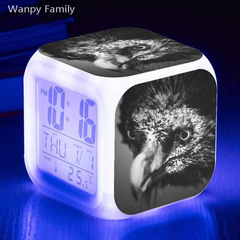 Raptor פלקון LED שעון מעורר 7 צבע שינוי זוהר מעורר דיגיטלי שעון ילדים תכליתי מתנה אלקטרוני שעונים שעון