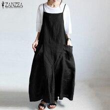 ZANZEA Summer Overalls Dress Women Strappy Solid Cotton Linen Dress Casual Sarafans Oversized Long Maxi Vestido Robe Plus Size