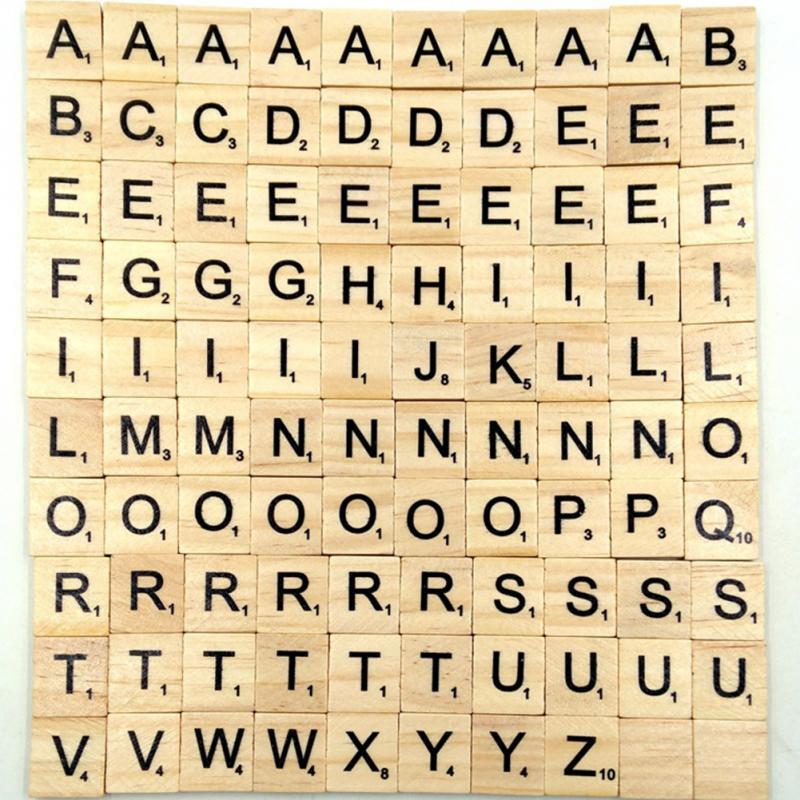 100 unids/lote inglés carta conjunto palabra Scrapbooking Scrabble números alfabeto azulejo de madera bloques de letras DIY manualidades