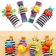 4 pièces bébé infantile Animal poignet hochets et pied Finder chaussettes ensemble développement éducatif doux jouets douche cadeau