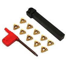 SER1212H16 Threading Insert Tool Boring Holder+ Wrench + 10Pcs Carbide Insert For Lathe Threading Turning Tool