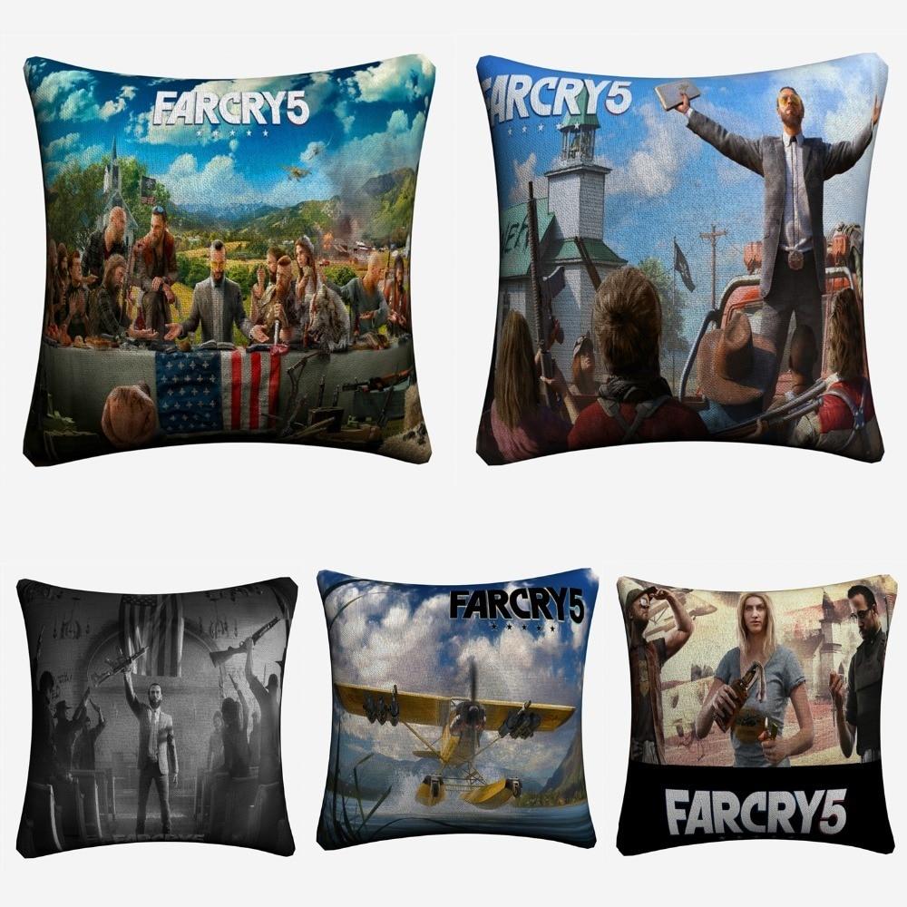 Funda de cojín de lino decorativa de videojuego Far Cry 5 HD para sofá silla 45x45cm funda de almohada para decoración de hogar Almofada