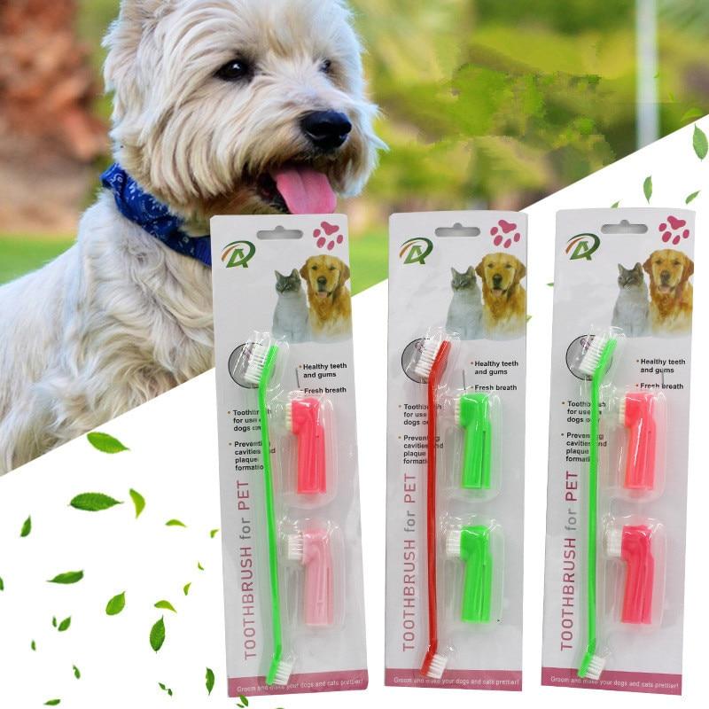 Nuevo cepillo de dientes de plástico para mascotas, juguetes para perros, guante de silicona de protección medioambiental para perros y gatos, accesorios para Limpieza de dientes para mascotas