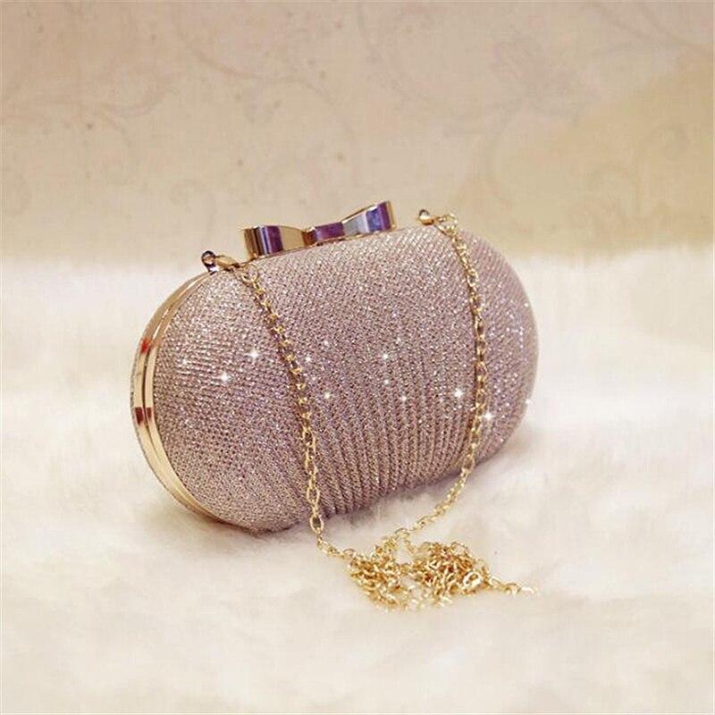Золотой вечерний клатч, женские сумки, свадебные блестящие сумочки, свадебные металлические клатчи с бантом, сумка на плечо с цепочкой