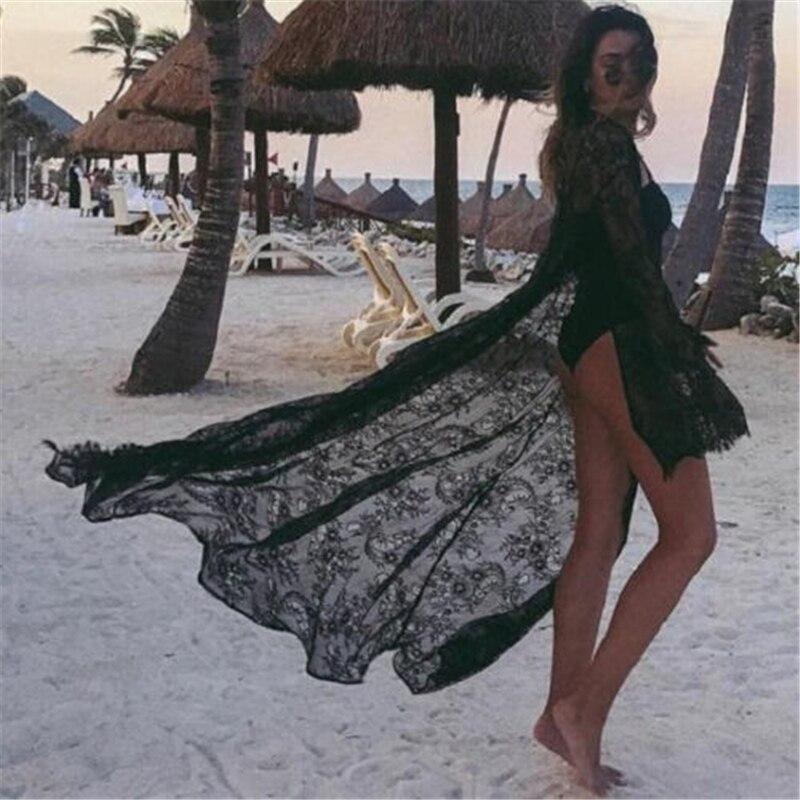 Été Sexy femmes dentelle Boho Bikini couvrir Kimono Cardigan Blouse longue crème solaire noir blanc évider dentelle vêtements de plage
