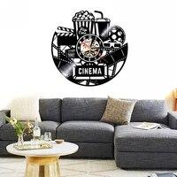 Horloge murale pop-corn creative  1 piece  12 pouces  decor noir pour la maison  cinema  cinema  Bar