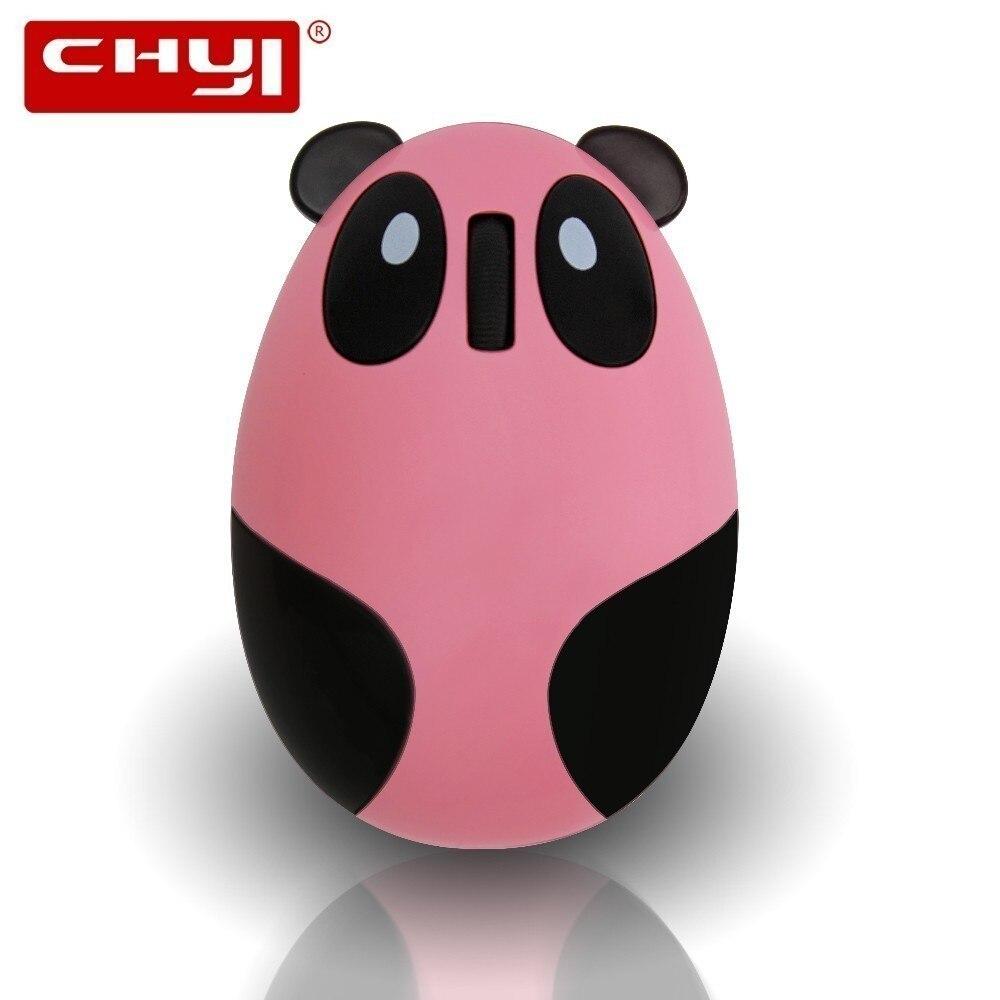 CHYI mignon dessin animé Panda conception sans fil souris Rechargeable 1600DPI USB souris optiques 3D Mini ordinateur Mause pour ordinateur portable fille