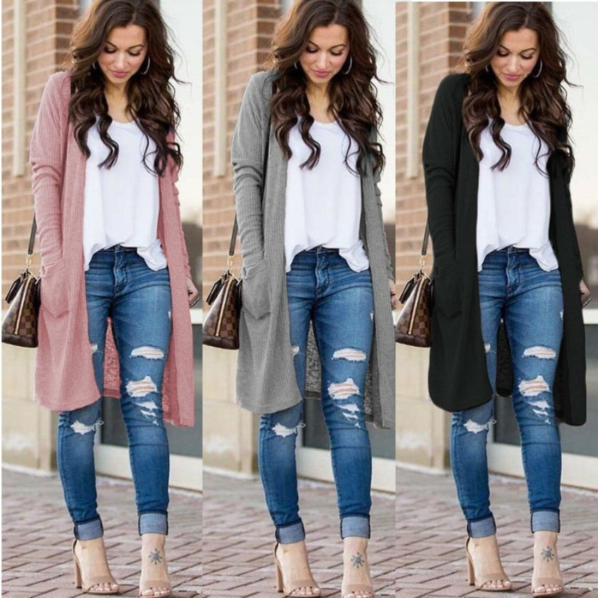 Uguest Casual Knitted Long Cardigan Female Loose Jumper Warm Winter 2019 Solid Sweater Women Coat