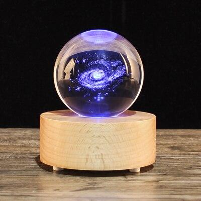 Regalo de Cumpleaños de Navidad bola de nieve bola de cristal caja de música, altavoz de madera decoración del hogar