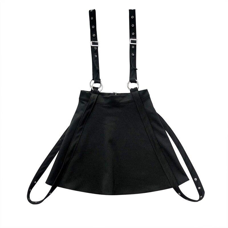 2019 nouveau noir gothique jupe femme rue belles bretelles court taille haute Punk Mini jupe