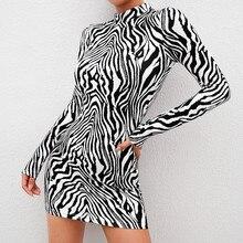 Женское платье в полоску с принтом зебры, модное платье в стиле бохо с длинным рукавом, мини-платье-карандаш с высоким воротником, Vestidos, одежда для вечеринок, верхняя одежда