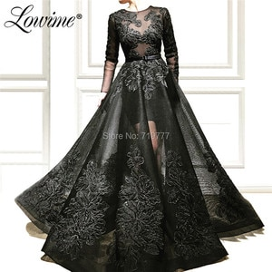 Black Elegant Evening Dress 2019 New Arrival Long Prom Dresses Saudi Arabic Couture Muslim Party Gowns Abendkleider Vestido