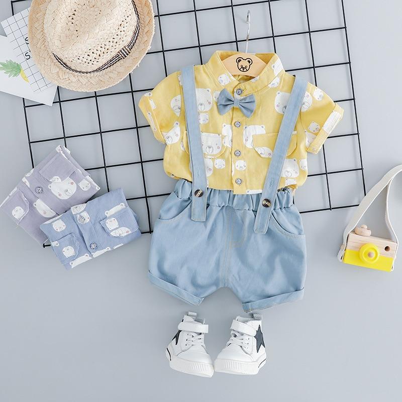 Été bébé garçon mode vêtements infantile dessin animé ours modèle t-shirt Shorts bavoir pantalon 2 pièces/ensembles enfants vêtement enfants Sport costumes