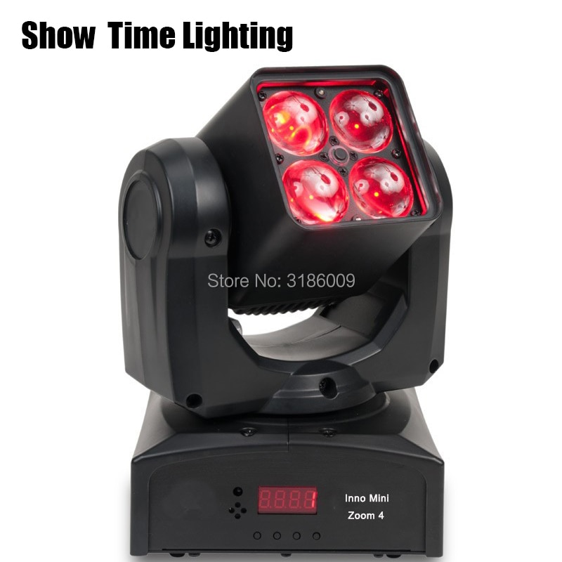 Mini Led Beam Moving Head With Zoom Function 4Pcs  RGBW 4 IN 1 Adjust Degree Moving Head Professional Stage KTV DJ Party Lite