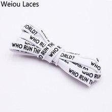 Zapatilla deportiva Weiou, con estampado plano y cordones para correr por el mundo, Impresión de doble cara en negro y blanco, cordón Extra largo