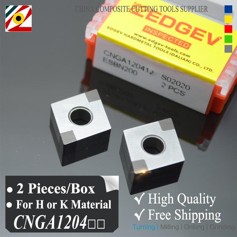 Inserto de nitruro de boro EDGEV de 2 piezas CBN CNGA120404 CNMG120408 o cuchilla CNGA431 para cortar acero endurecido o fábrica de hierro fundido