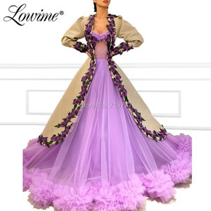 Illusion Tulle Muslim Evening Dresses With Jacket Custom Made Arabic Dubai Party Dress 2019 Kaftans Abendkleider Long Prom Gowns