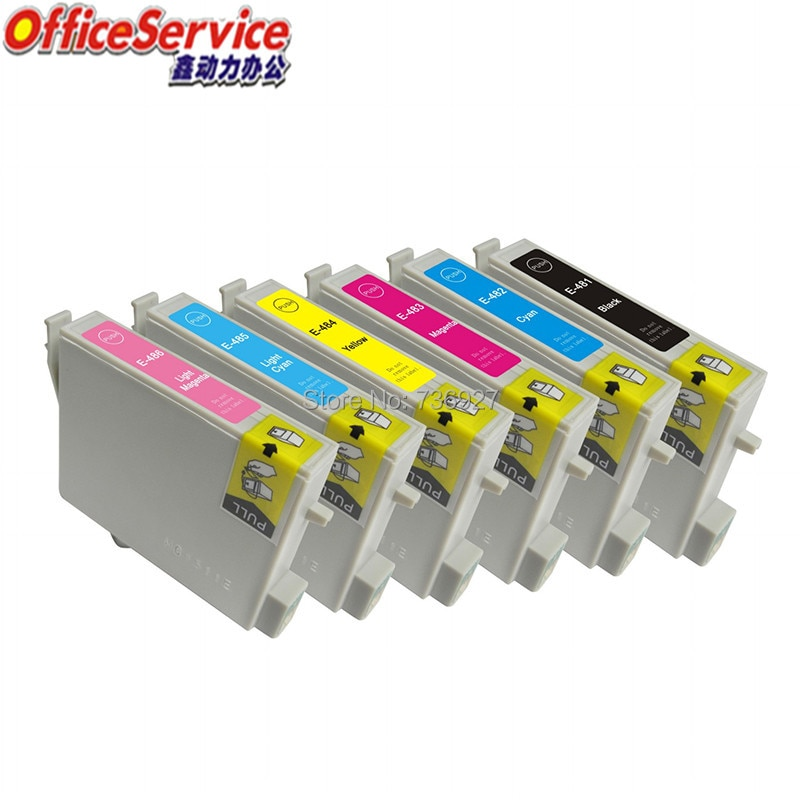 Cartucho de tinta Compatible T0481 a T0486 para Epson, para Stylus Photo R220 R300M R320 R340 RX500 RX600 RX620 RX640 impresora