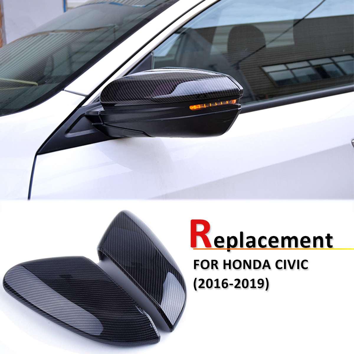 Замена углеродного волокна стиль ABS зеркало заднего вида Боковая дверь крыла крышки заднего вида подходят для Honda Civic 2016 2017 2018