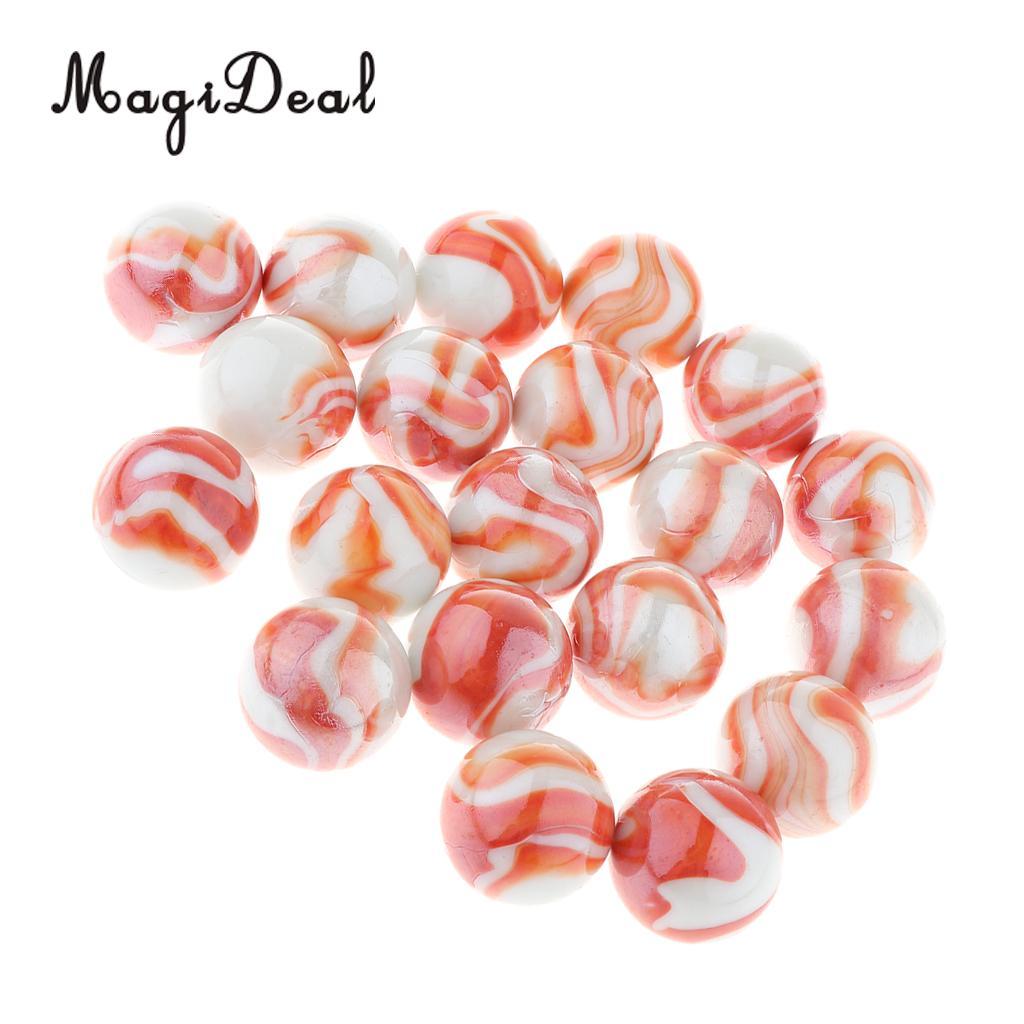 20 piezas 25mm rayas florales mármol de cristal, juego de mármol para niños, mármol solitario accesorios de juguetes jarrón relleno y pecera decoración del hogar