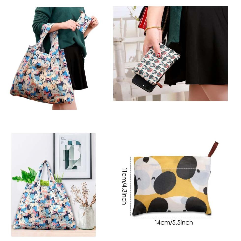 Waterproof Foldable Reusable Eco Shopping Travel Shoulder Bag Pouch Tote Handbag Folding Shopping Bags
