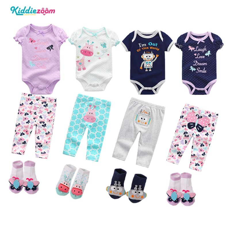 Kiddiezoom, ropa para bebés recién nacidos, ropa para niños, vestidos de verano de algodón para niñas, conjuntos de ropa de niño unisex con cuello redondo corto