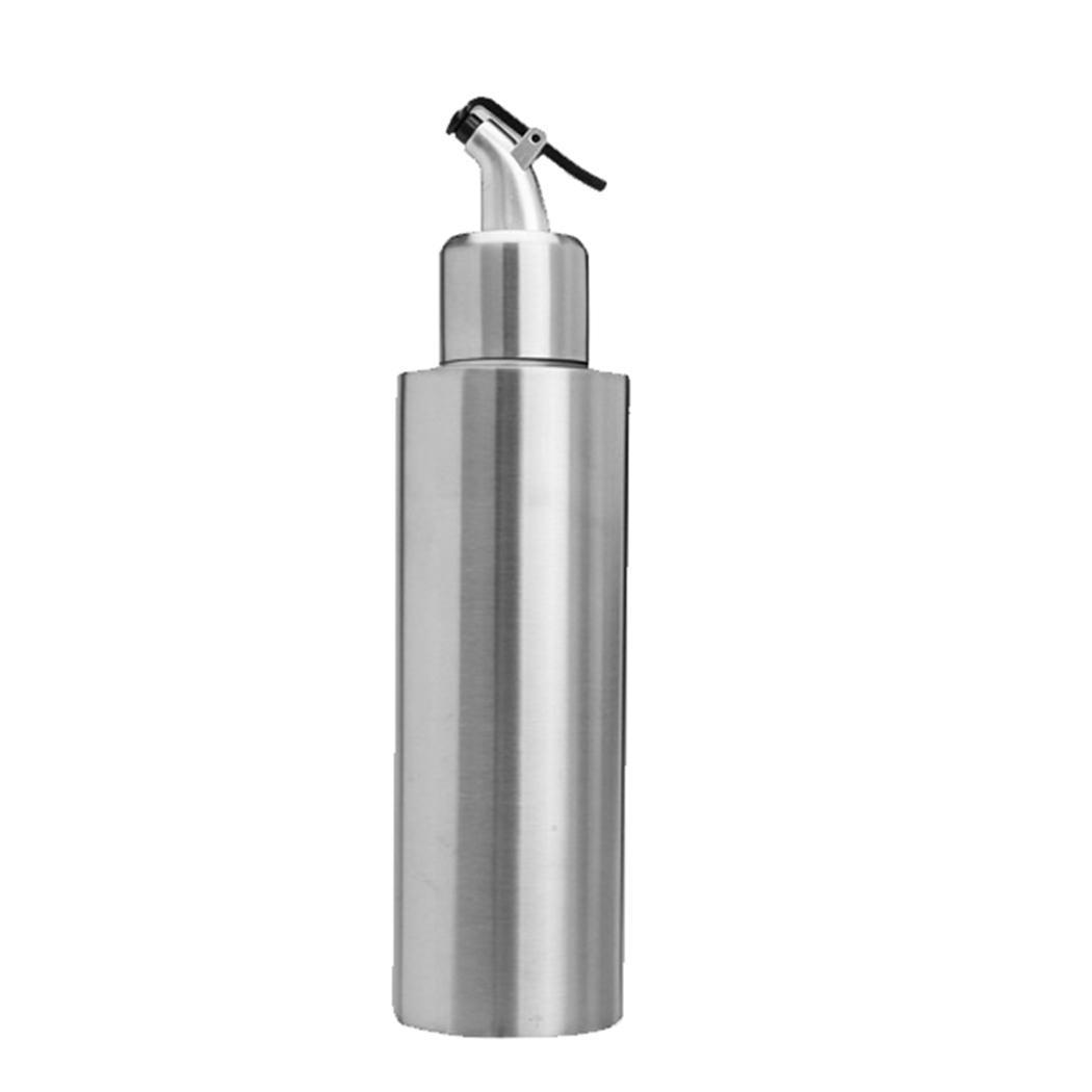 Botella de aceite vinagre de acero inoxidable A prueba de fugas para el hogar, dispensador de cocina de plata, herramienta Unisex