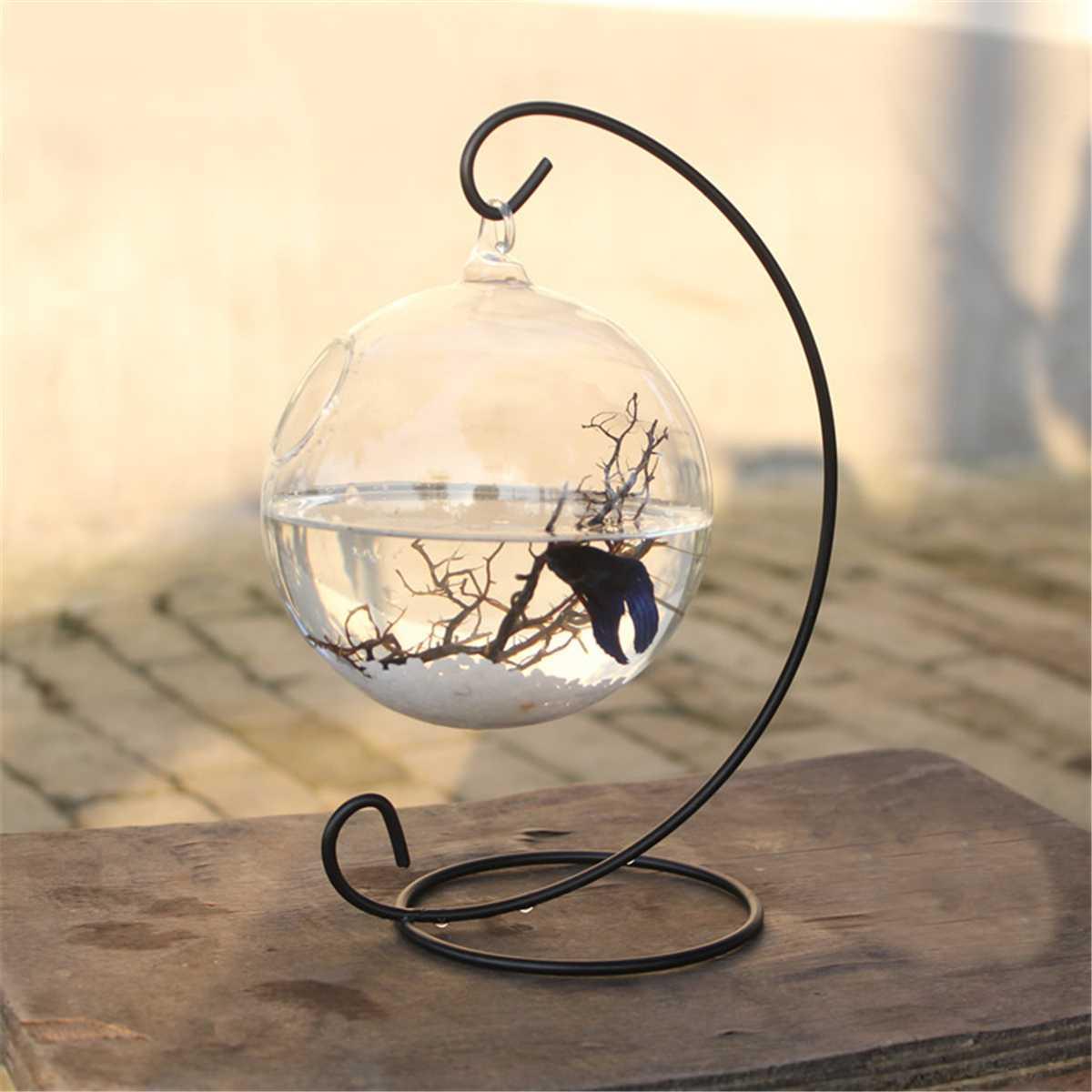 3 taille bureau suspendu verre Aquarium Mini herbe Fun Aquarium clair poisson cylindre bol fer support support Aquarium accessoires