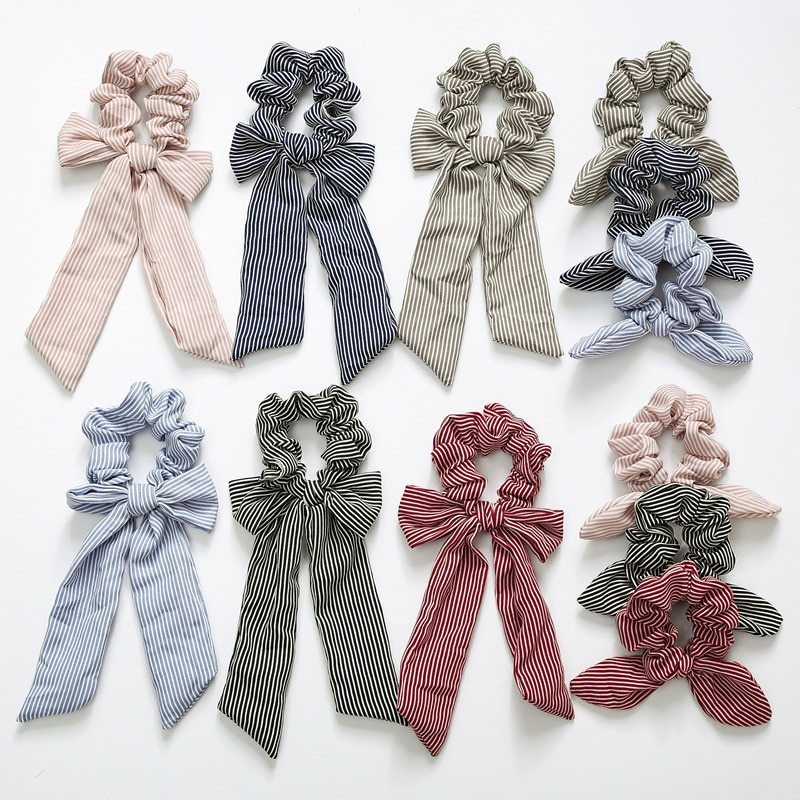 New Bow Streamers Hair Ring Fashion Ribbon Girl Bands Scrunchies Ponytail Bows Holder Rope Accessories
