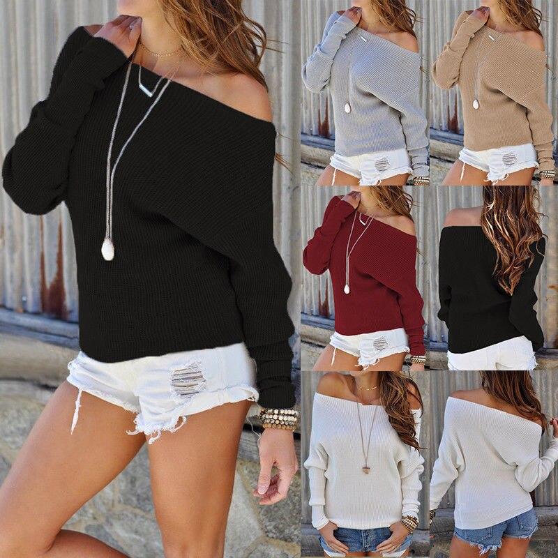 ¡Novedad! jersey de manga larga cálido y Sexy para mujer, jersey de color negro liso con hombros descubiertos, blusa