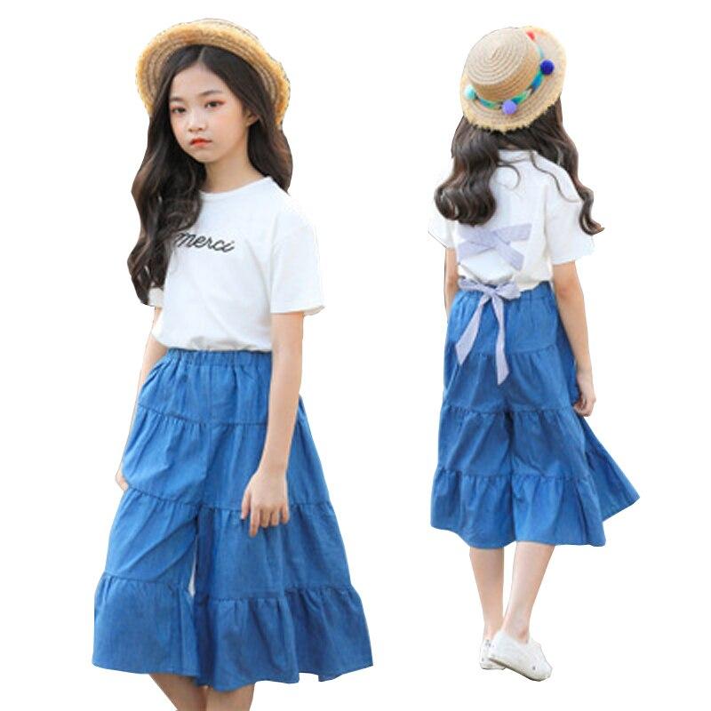 Summer Girls Clothing Sets 2019 Kids Clothes Set Cotton Big Bowknot Blouse+Loose Denim Pants 2PCS Outfits Age  6 8 10 12 14 Yrs