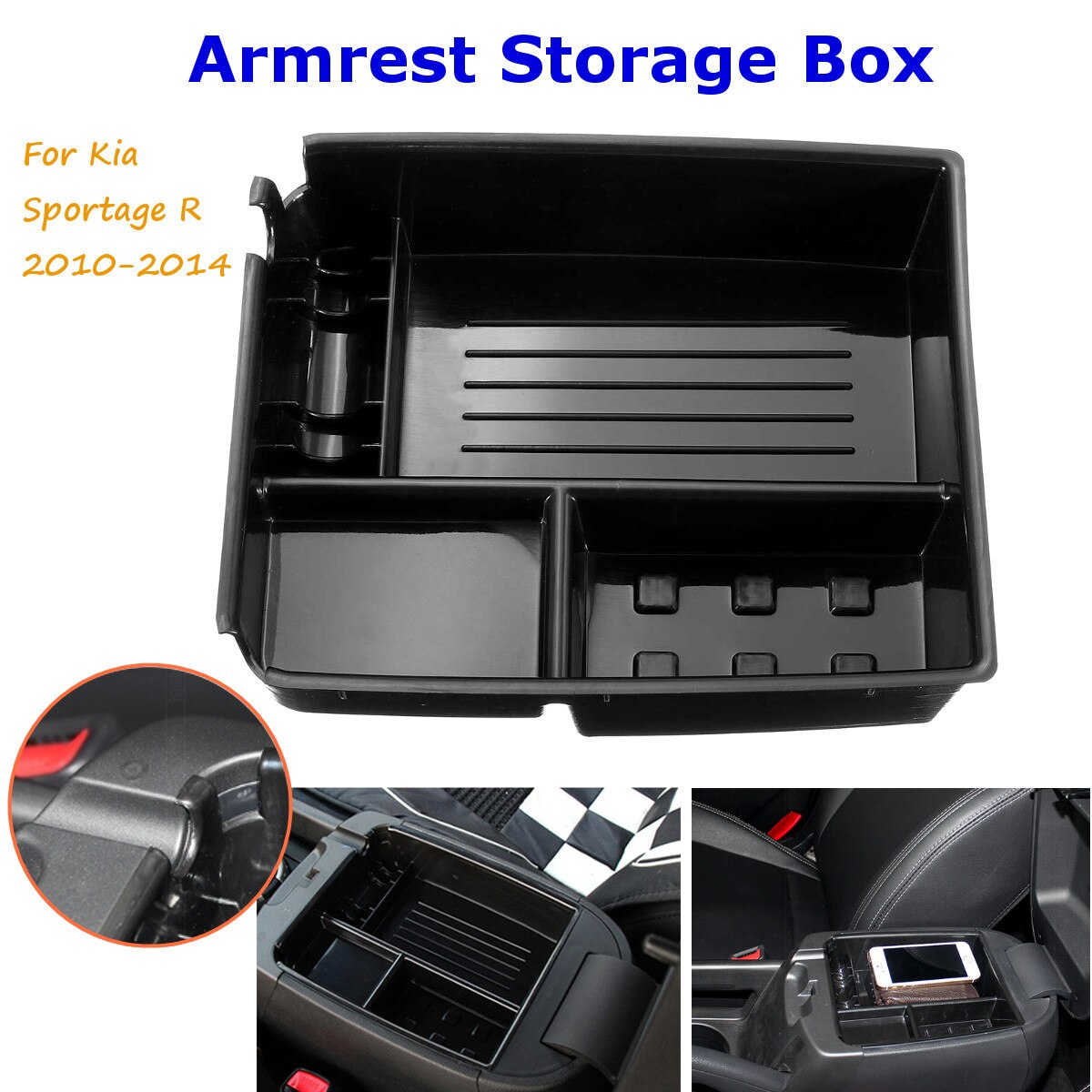 ABS Central Storage Pallet Armrest Container Decorative Box Case For Kia Sportage R 2010 2011 2012 2013 2014
