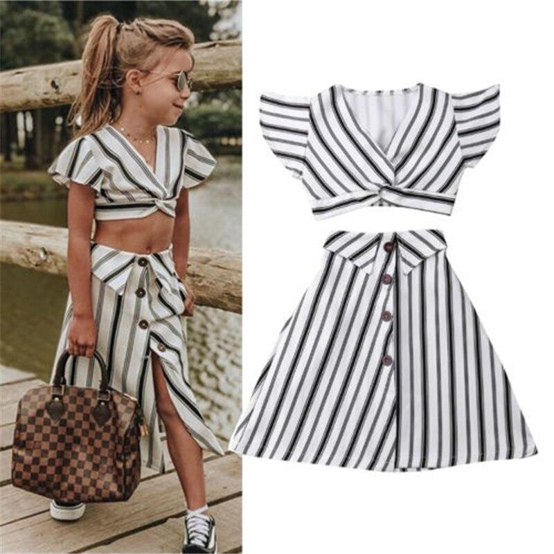 Conjunto de 2 uds. De ropa de verano para niña bbay, ropa recortada a rayas para niñas pequeñas, Tops, vestido con falda, vestido veraniego 2 uds