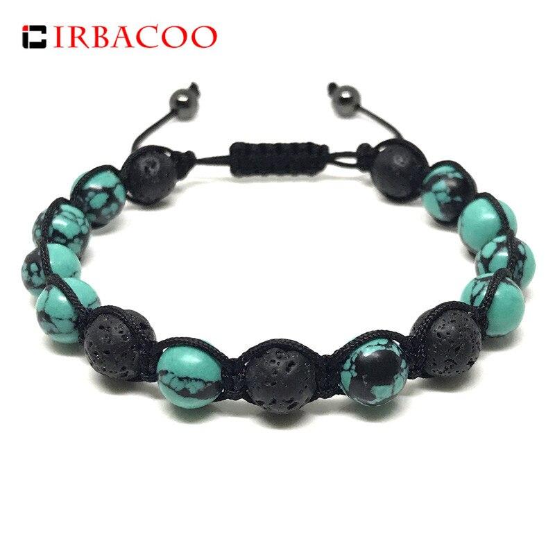 IRBACOO hombres de moda brazalete lava negra piedra verde piedra hecho a mano con hilo Macrame pulsera para hombre regalo