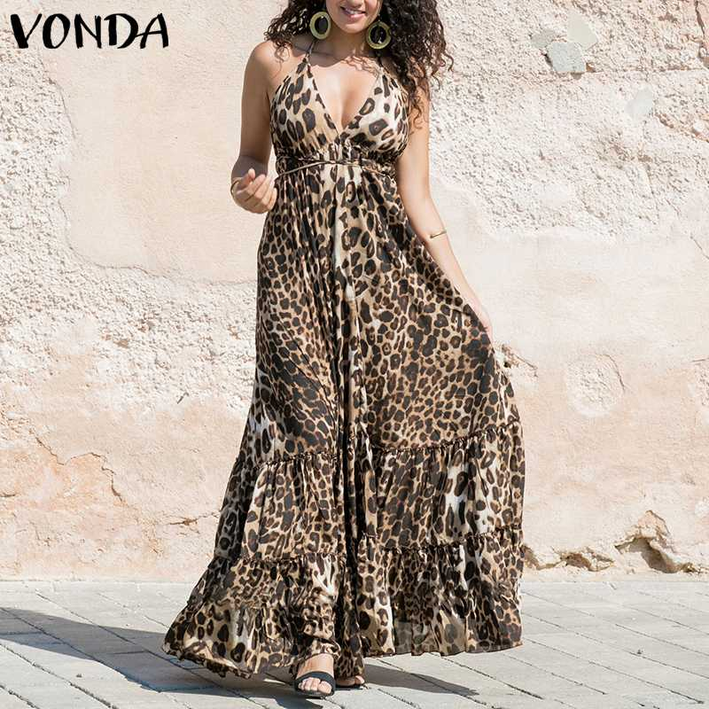 VONDA Women Sexy Leopard Dress Spaghetti Strap Ruffle Swings Maxi Long Dress Plus Size 2020 Summer Sleeveless Party Vestido