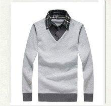 2019 automne hiver hommes chandail faux deux col de chemise chandail homme vêtements décontractés tricots chandail hommes
