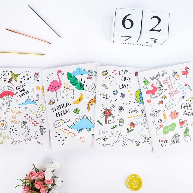 Cuaderno planificador diario A5, suministros escolares, precioso cuaderno rayado, precioso material de papelería de dibujos animados, tapa suave, accesorios de oficina, libro, 2020