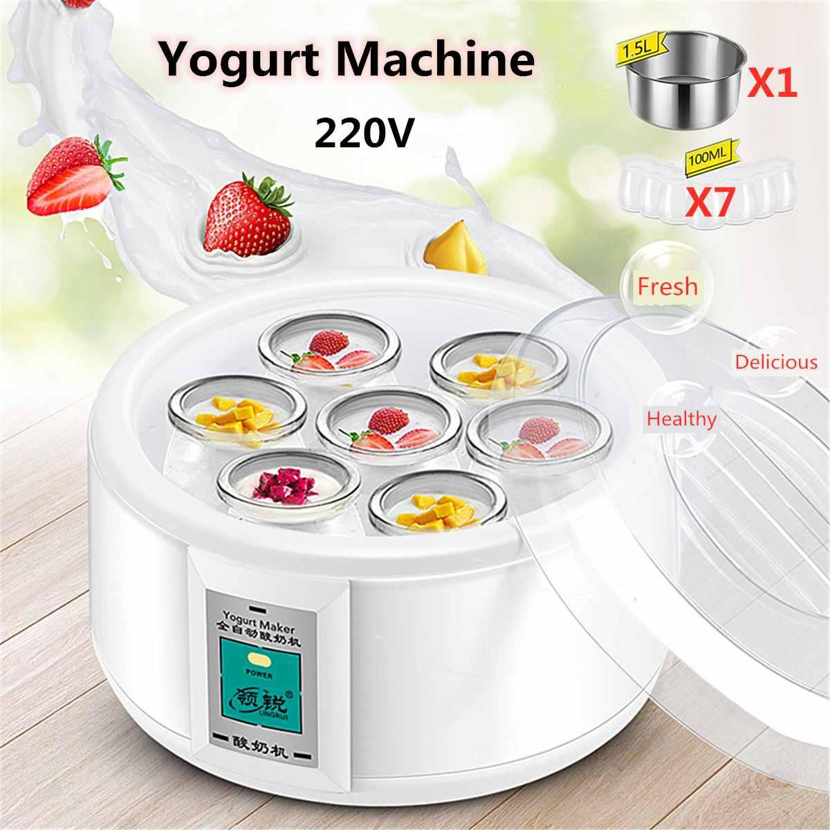 Yogurtera automática de 1,5 l con 7 tarros herramienta de bricolaje Yogurt eléctrico Yogurt 15W electrodomésticos de cocina Liner acero inoxidable