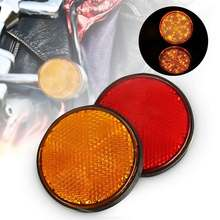 2Pcs 2'' Universal MOTORRAD ATV Roller Dirt Bikes BOLZEN ANZAHL PLATTE RUNDE REFLEKTOR Rot Orange