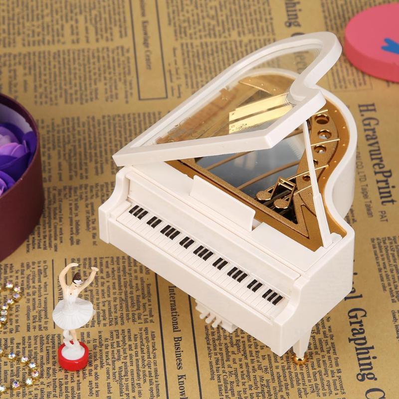 Nueva caja de música romántica con forma de Piano clásico para bailarina, caja Musical con manivela, cajas musicales para cumpleaños, boda, regalo de amor, decoración del hogar