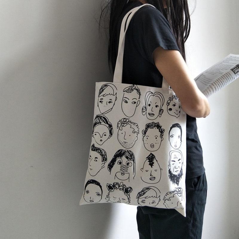Bolso de lona para mujer, bolsos de moda, bolsa de compra de tela reutilizable ecológica, bolsas escolares para estudiantes, bolso de compras Casual para mujer