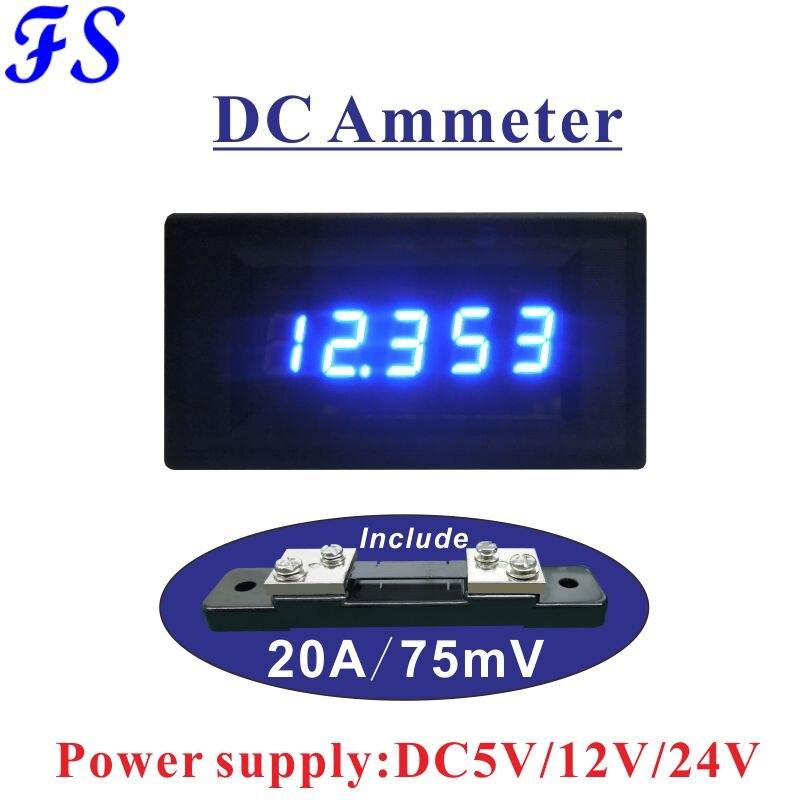 Amperímetro Digital LED de 0,4 pulgadas DC 20A incluye derivación 20A/75mV DC amperímetro fuente de alimentación del medidor de corriente DC 5V 12V 24V panel de Medidor de amperios
