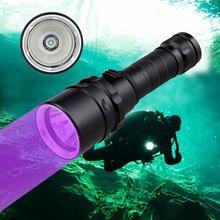 Professionnel UV lumière sous-marine Rechargeable 18650 batterie LED XPE plongée lampe de poche 100M torche plongée sous-marine 10W 365-395nm lanterne
