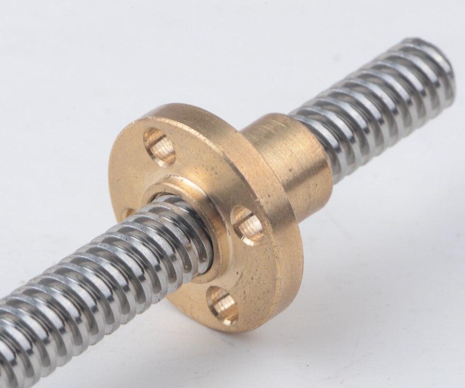 Piezas de impresora 3d T4 longitud del tornillo de plomo 100 150 200 250 300 350 mm plomo 1mm SS tornillo trapezoidal con tuerca de nylon de latón